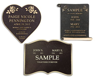 three different designs for grave markers