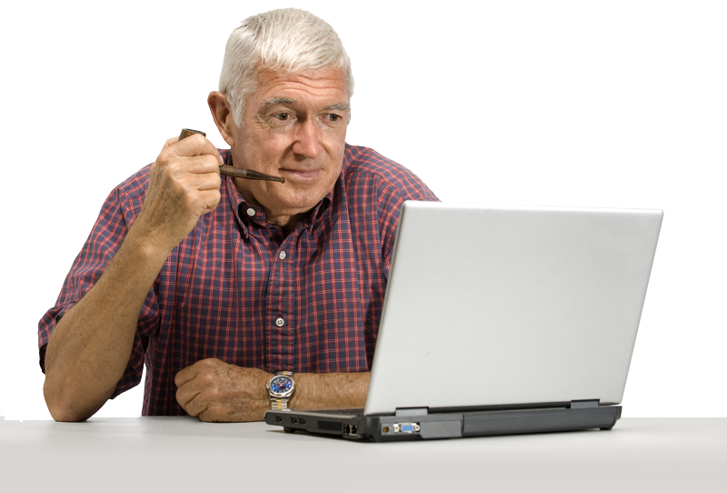 an old man with his smoking pipe looking at the laptop